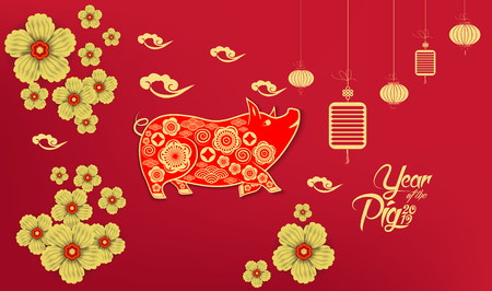 Happy Chinese New Year 2019 year of the pig paper cut style. Zodiac sign for greetings card, flyers, invitation, posters, brochure, banners, calendar 일러스트