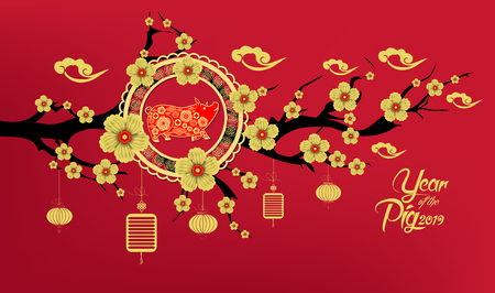 Happy Chinese New Year 2019 year of the pig paper cut style. Zodiac sign for greetings card, flyers, invitation, posters, brochure, banners, calendar 向量圖像