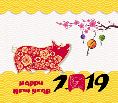 2019 chinese new year greeting card with traditionlal pattern border. Year of the pig