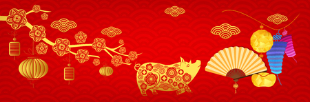 Happy new year 2019, Chinese new year greetings card. Year of pig