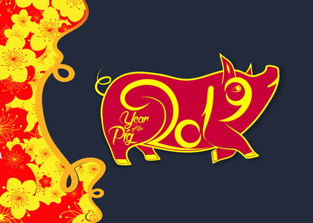 Happy chinese new year 2019 Zodiac sign with gold paper cut art and craft style on color Background