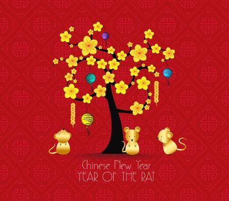 Diseño de árbol para la celebración del año nuevo chino. Año de la rata