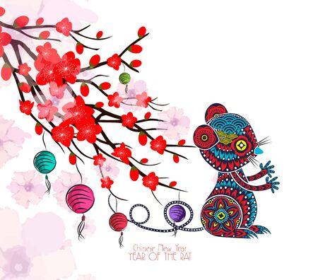 Chinese nieuwjaarskaart met pruimbloesem en lantaarn