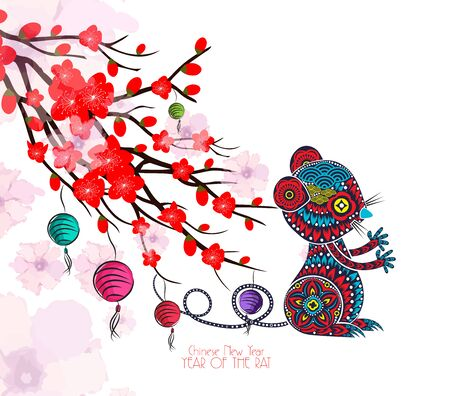 Karta chińskiego nowego roku z kwiatem śliwy i lampionem