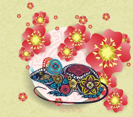 Chinese new year rat 2020 background blooming sakura branches Ilustração Vetorial