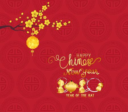 Oosters Gelukkig Chinees Nieuwjaar 2020. Jaar van de rat