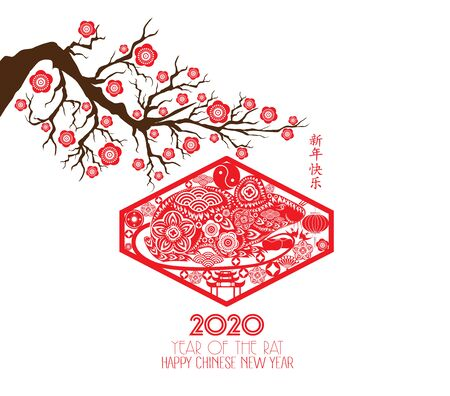 Chinese traditional Happy New Year Rat. Chinese characters mean Happy New Year