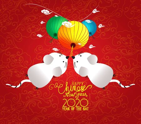 Happy Chinese New Year 2020 year of the rat style. Chinese characters mean Happy New Year, wealthy, Zodiac sign for greetings card, flyers, invitation, posters, brochure, banners, calendar