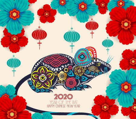 2020 Chinese New Year Paper Cutting Year of Rat Vector Design for your greetings card, flyers, invitation, posters, brochure, banners, calendar Çizim
