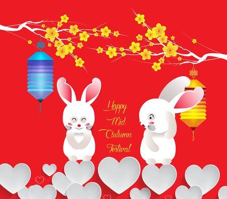 Mid Autumn rabbit Lantern Festival blossom background 向量圖像