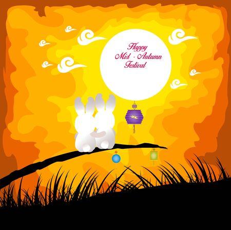 Fondo del Festival del Medio Otoño con conejo jugando linternas Ilustración de vector