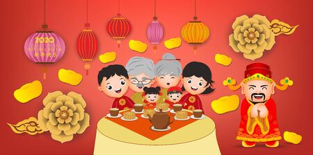 Happy New Year 2020. Chinese New Year. The year of the rat. (Chinese translation Happy chinese new year)  イラスト・ベクター素材