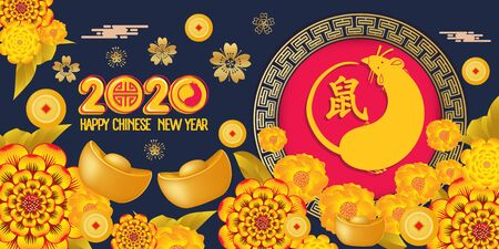 Happy Chinese New Year 2020 year of the rat paper cut style. Zodiac sign for greetings card. Translation Mouse Foto de archivo - 129768977