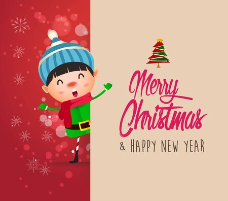 Kid with big signboard. Merry Christmas calligraphy lettering design. Creative typography for holiday greeting