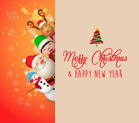 Christmas Cute Animals Character. Merry Christmas calligraphy lettering design. Creative typography for holiday greeting Çizim