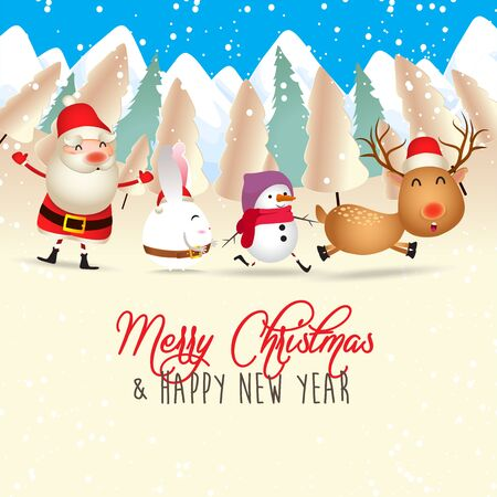 Merry Christmas and Happy New Year. Merry christmas santa claus and deer funny