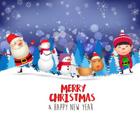 Merry Christmas and Happy New Year. Merry christmas snowman and kid funny