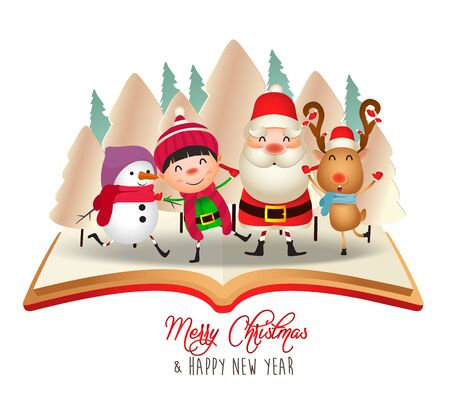 Merry Christmas and Happy New Year. Merry christmas santa claus and deer on book