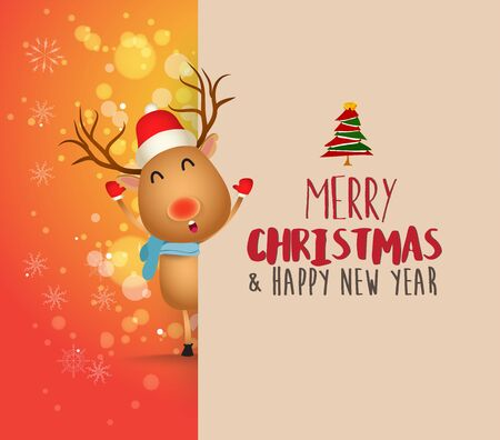 Deer with big signboard. Merry Christmas calligraphy lettering design. Creative typography for holiday greeting Çizim