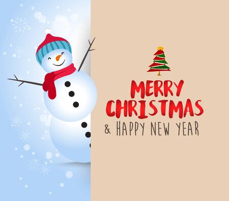 Snowman with big signboard. Merry Christmas calligraphy lettering design. Creative typography for holiday greeting