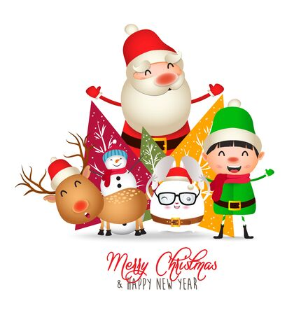 Merry Christmas and Happy New Year. Christmas Cute Animals Character. Happy Christmas Companions Çizim