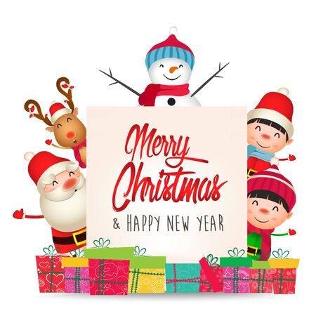 Merry Christmas and Happy New Year. Merry christmas santa claus and gifts