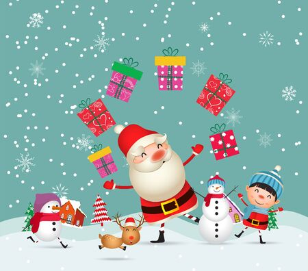 Merry Christmas and Happy New Year. Christmas Cute Animals Character. Happy Christmas Companions. Winter landscape