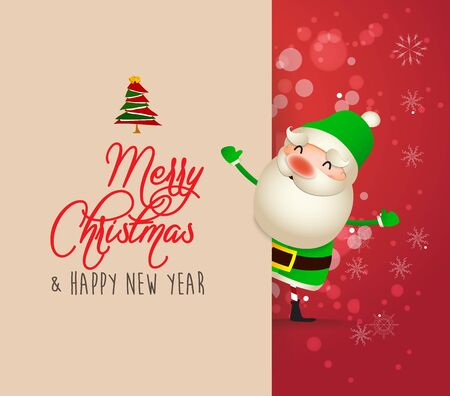 Santa Claus with big signboard. Merry Christmas calligraphy lettering design. Creative typography for holiday greeting Çizim
