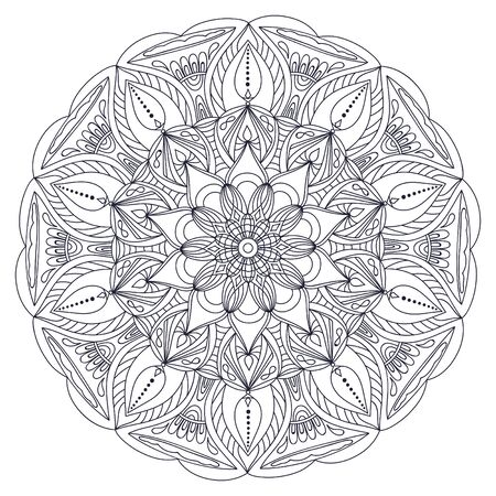 Mandalas for coloring book. Decorative round ornaments. Unusual flower shape. Oriental vector, Anti-stress therapy patterns. Weave design elements Vettoriali