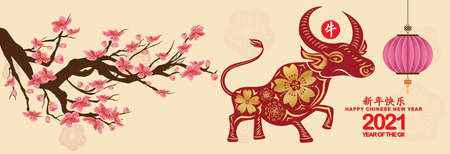 Set Banner Happy new year 2021 greeting card and chinese new year of the Ox, Cherry blossom background (Chinese translation Happy chinese new year 2021, year of ox)