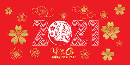 Happy Chinese new year 2021 the year of the ox zodiac, cute cow Cartoon calendar vector illustration