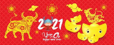 Happy Chinese new year 2021 chinese the year of the ox zodiac, Year of the ox banner