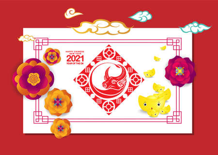 Set of Happy Chinese New Year 2021 vertical banners for social media stories wallpaper. Symbol 2021 Eastern New Year