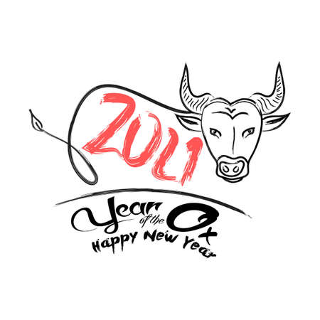 Chinese Zodiac Sign Year of Ox,Red paper cut ox. Happy Chinese New Year 2021 year of the ox (Chinese translation Happy Chinese New Year, Year of Ox) Stok Fotoğraf - 160306652