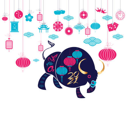 Chinese new year 2021 year of the ox ,lanterns,flower and asian elements with craft style on background Stok Fotoğraf - 160446383