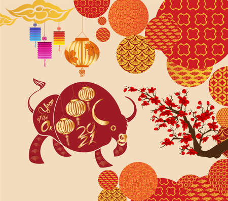 Chinese new year 2021 year of the ox ,lanterns,flower and asian elements with craft style on background Stok Fotoğraf - 160446386