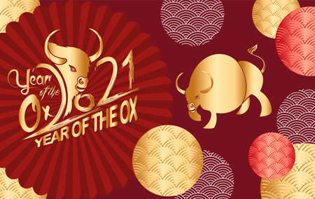Chinese new year 2021 year of the ox ,lanterns,flower and asian elements with craft style on background Stok Fotoğraf - 160446387