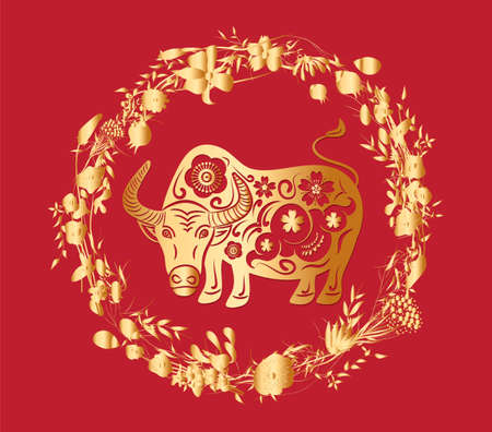 Chinese new year, year of the ox ,lanterns,flower and asian elements with craft style on background Çizim