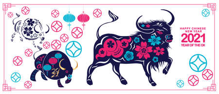 Chinese new year 2021 year of the ox ,lanterns,flower and asian elements with craft style on background Stok Fotoğraf - 160446393