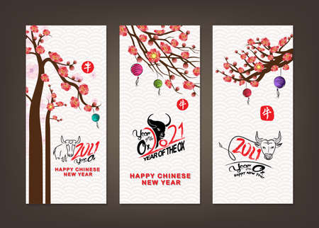 Set of Happy Chinese New Year 2021 vertical banners for social media stories wallpaper. Symbol 2021 Eastern New Year (Chinese translation Happy Chinese New Year, Year of Ox) Stok Fotoğraf - 160446414