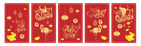 Set of Happy Chinese New Year 2021 vertical banners for social media stories wallpaper. Symbol 2021 Eastern New Year (Chinese translation Happy Chinese New Year, Year of Ox) Stok Fotoğraf - 160446425