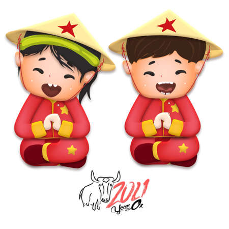 Happy lunar new year 2021 greeting card with cute boy, girl happy smile so funny. Kids sit hand in hand cartoon character. Year of the Ox Stok Fotoğraf - 160731307
