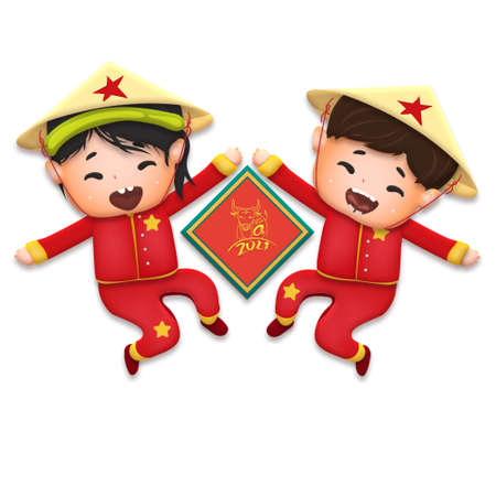2021 Vietnamese New Year Tet illustration, buffalo, cute kids in traditional red shirt hold firecrackers and gold coin, yellow hat, Lunar New Year. Hand drawn concept card, poster, banner. Stok Fotoğraf - 160731304