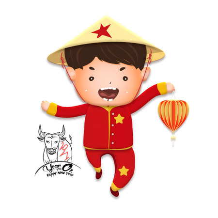 2021 Vietnamese New Year Tet illustration, buffalo, cute kids in traditional red shirt hold firecrackers and gold coin, yellow hat, Lunar New Year. Hand drawn concept card, poster, banner. Stok Fotoğraf - 160731310