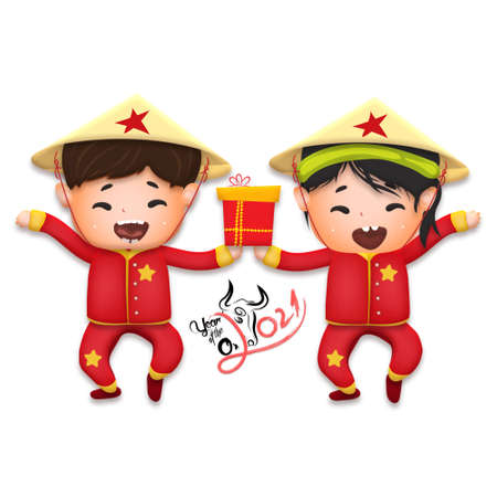 2021 Vietnamese New Year Tet illustration, buffalo, cute kids in traditional red shirt hold firecrackers and gold coin, yellow hat, Lunar New Year. Hand drawn concept card, poster, banner.