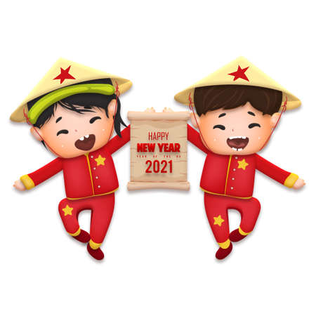 Happy lunar new year 2021 greeting card with cute boy, girl happy smile so funny. Kids sit hand in hand cartoon character. Year of the Ox Stok Fotoğraf - 160731314