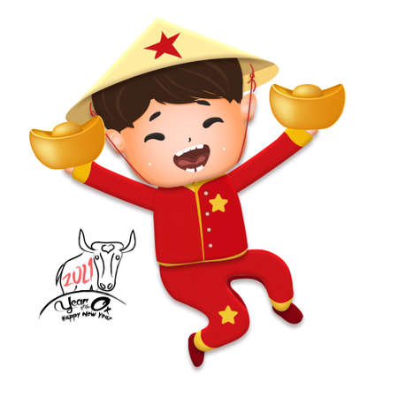 Happy lunar new year 2021 greeting card with cute boy, girl happy smile so funny. Kids sit hand in hand cartoon character. Year of the Ox Stok Fotoğraf - 160731319