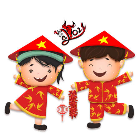 Happy lunar new year 2021 greeting card with cute boy, girl happy smile so funny. Kids sit hand in hand cartoon character. Year of the Ox Stok Fotoğraf - 160731548