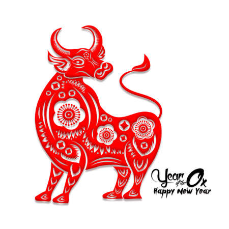 Happy Chinese New Year 2021 year of the ox ,Chinese Zodiac Sign Paper cut gold ox