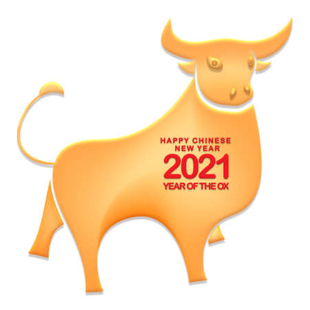 Happy Chinese New Year 2021 year of the ox ,Chinese Zodiac Sign Paper cut gold ox Stok Fotoğraf - 160731558